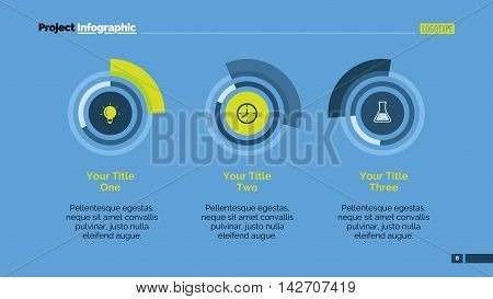 Three circular charts. Element of presentation, doughnut chart, diagram, comparison. Concept for business template, infographics, report. Can be used for topics like marketing, analysis, statistics