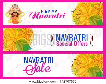 Happy Navratri Special Offer Sale, Creative website header or banner set, Durga Puja background with floral decoration, Vector illustration for Indian Festival celebration.