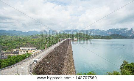 Ratchaprapa Dam a famous dam in Surat Thani Thailand.