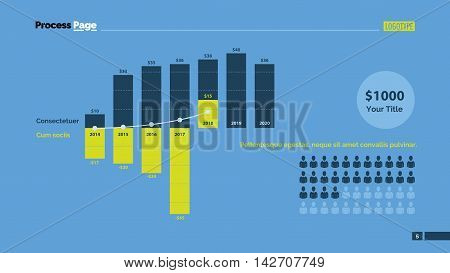 Combo diagram with bars and percentage. Element of presentation, bar chart, diagram. Concept for business template, infographics, report. Can be used for topics like marketing, finance, population