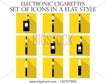 Electronic cigarette flat icons. Various types of e-cigarettes. Vector illustration.