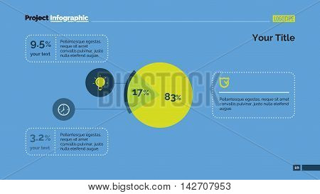 Exploded pie chart with percentage. Element of presentation, graph, chart, diagram. Concept for template, infographics, report. Can be used for topics like analysis, statistics, finance, investment