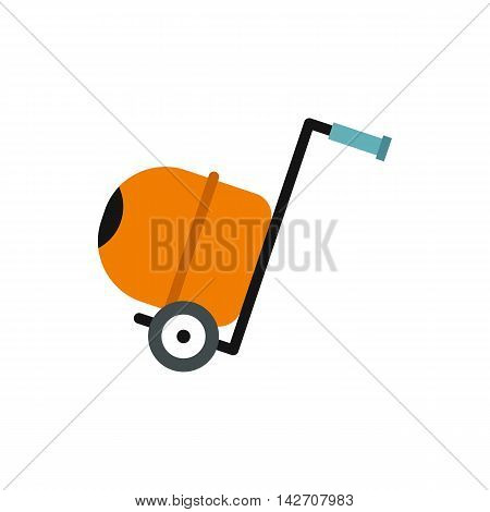 Concrete mixer icon in flat style isolated on white background. Construction symbol