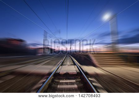 Railway Platform With Motion Blur Effect