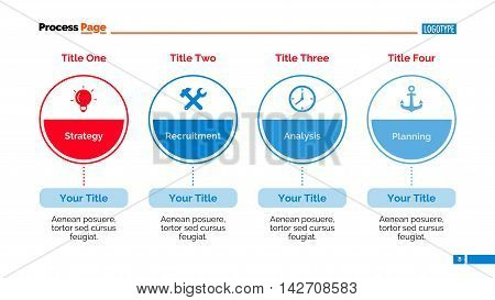 Four stages infographic circle diagram. Element of chart, presentation, layout. Concept for infographics, templates, reports. Can be used for topics like marketing strategy, analysis, working process