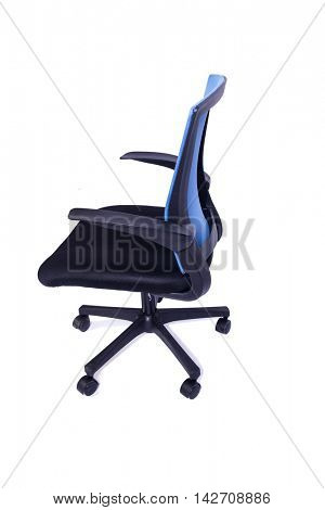 Blue office chair isolated on the white background