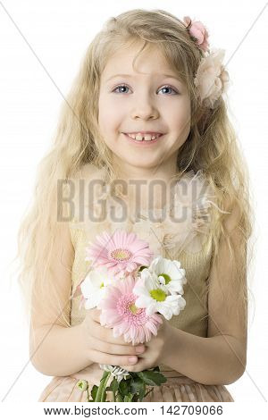 Cheerful child with toothy smile isolated on white