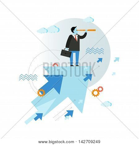 Businessman looking through spyglass vector illustration in flat style design. Creative business vision concept. Moving ahead.
