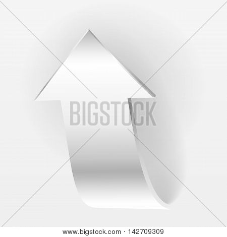White arrow points backward and grey background. Symbol of motion up