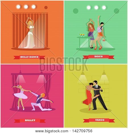 People dancing tango, ballet, disco and belly dance. Vector banners in flat style design. Man and woman dance on a stage.
