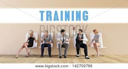 Business Training Being Discussed in a Group Meeting 3D Illustration Render