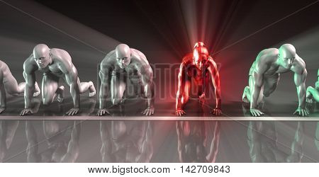 Corporate Woman Versus Men in a Concept Business Race 3D Illustration Render