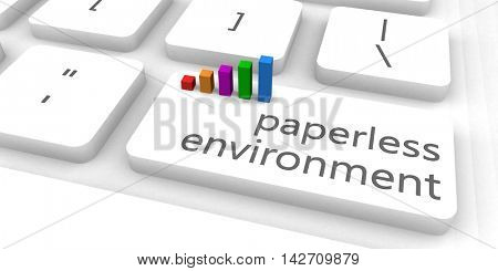 Paperless Environment as a Fast and Easy Website Concept 3D Illustration Render