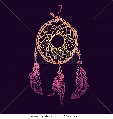 Indian Ethnic dream catcher with feathers. Native american poster. T-shirt design. Vector illustration.