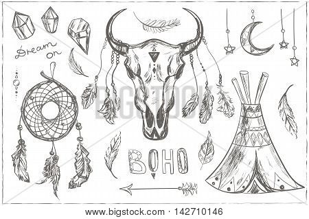 Hand drawn ethnic design elements. Vector set with tribal, indian, aztec, hipster, boho elements. Buffalo Skull, Dream catcher