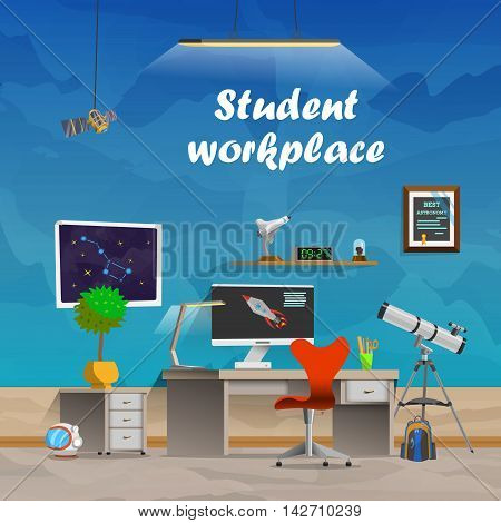 Student workplace. Space and astronomy. Workplace concept in flat design cartoon style. Office workplace interior design. Business objects, elements equipment. Web banner. Back to school.