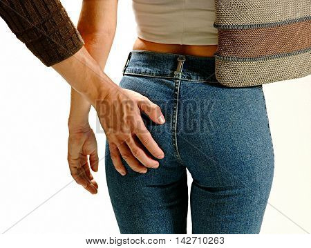 photo on male hand studio the woman's body harassment
