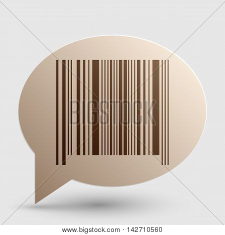 Bar code sign. Brown gradient icon on bubble with shadow.