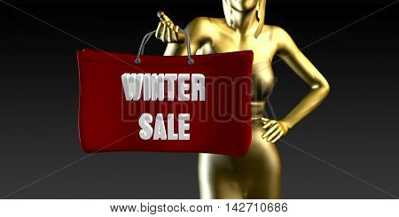 Winter Sale or Sales as a Special Event 3d Illustration Render