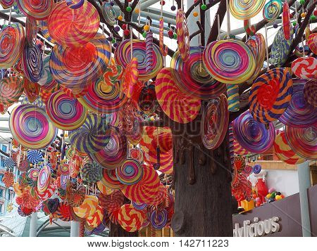 Singapore City, Singapore June 06, 2016: Large and colorful lollipops hanging on a tree, as a product presentation candy store in Singapore.