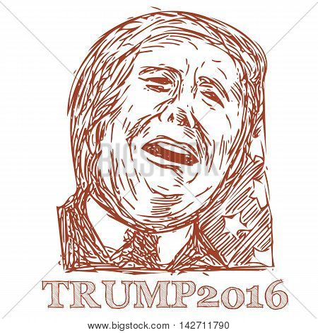 August 15, 2016: Illustration showing Republican Party presidential president 2016 candidate Donald John Trump on isolated white background done in sketch style.
