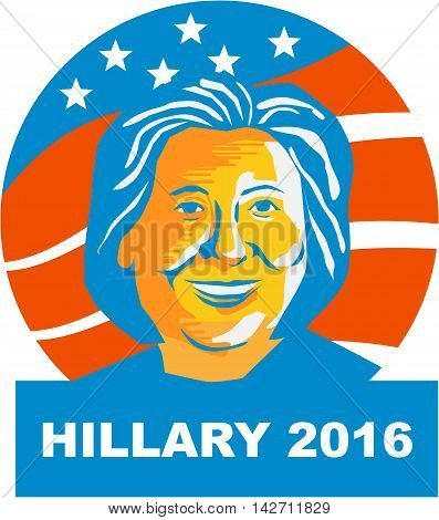 August 15, 2016: Illustration showing Democratic Party presidential candidate for president 2016 Hillary Clinton set inside circle with stars and stripes on isolated background.