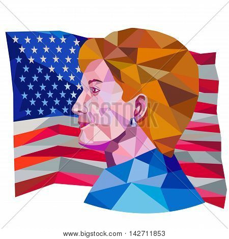 August 15, 2016: Illustration showing Democratic Party presidential candidate for president 2016 Hillary Clinton side view with USA stars and stripes flag done in low polygon art style.