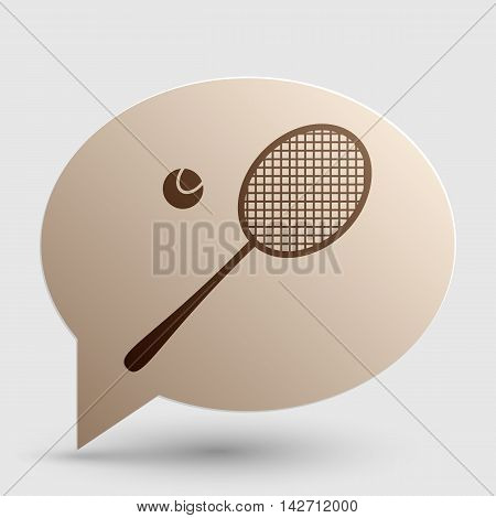 Tennis racquet sign. Brown gradient icon on bubble with shadow.
