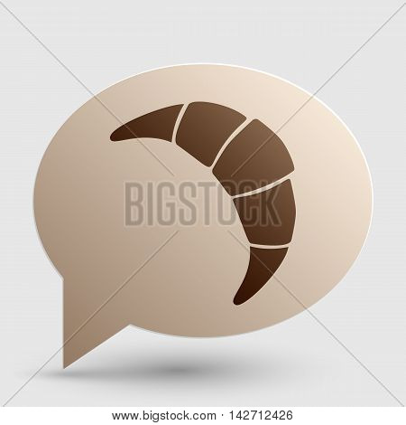 Croissant simple sign. Brown gradient icon on bubble with shadow.