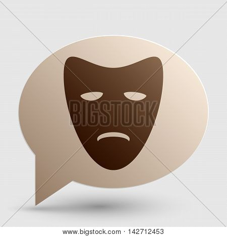 Tragedy theatrical masks. Brown gradient icon on bubble with shadow.