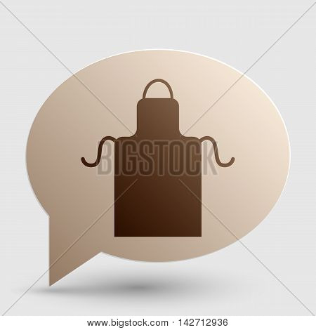 Apron simple sign. Brown gradient icon on bubble with shadow.