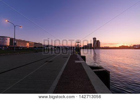 Promenade in Gdynia at sunset Poland Europe