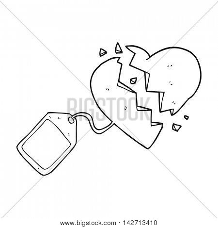 freehand drawn black and white cartoon luggage tag on broken heart