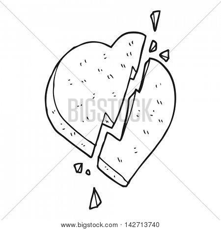 freehand drawn black and white cartoon broken heart symbol