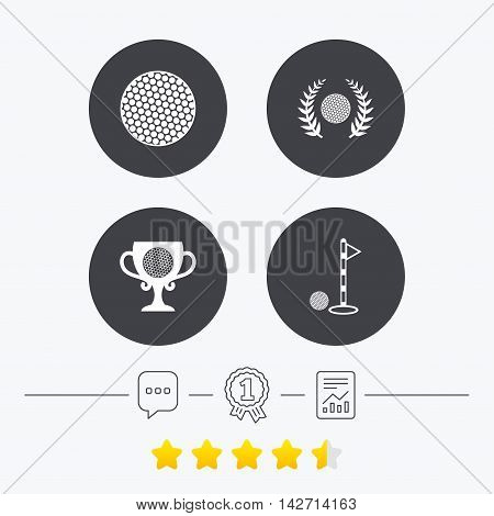 Golf ball icons. Laurel wreath winner award cup sign. Luxury sport symbol. Chat, award medal and report linear icons. Star vote ranking. Vector