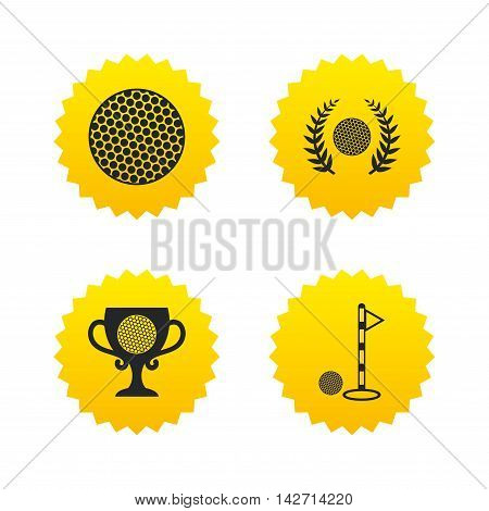 Golf ball icons. Laurel wreath winner award cup sign. Luxury sport symbol. Yellow stars labels with flat icons. Vector
