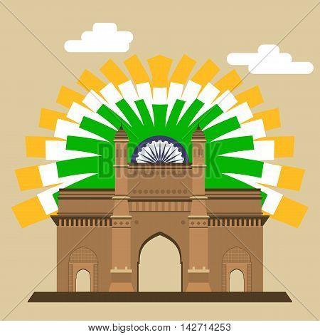 Mumbai Gateway. Gateway. Indian landmark with abstract flag EPS8