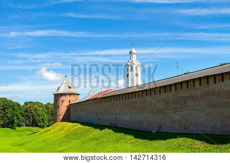 Architecture summer landscape - Veliky Novgorod Kremlin and belfry of St Sophia Cathedral on the hill in summer sunny day in Veliky Novgorod Russia