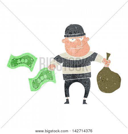 freehand retro cartoon bank robber