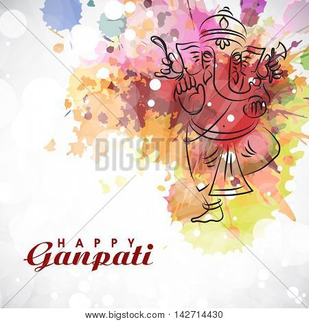 Illustration of Lord Ganesha with colorful splash for Ganesh Chaturthi Celebration. Vector Indian Festivals greeting card.