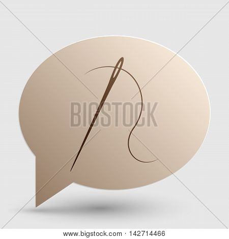 Needle with thread. Sewing needle, needle for sewing. Brown gradient icon on bubble with shadow.