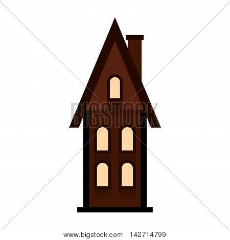 Brown two storey house with chimney icon in flat style on a white background