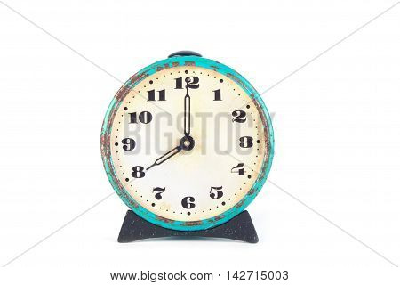 Old clock isolated on white background. Education
