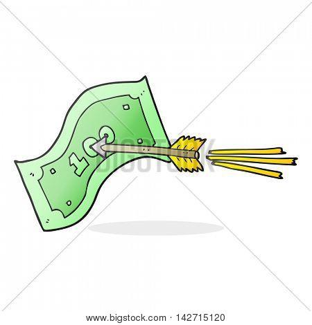 freehand drawn cartoon flying arrow hitting money note