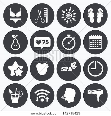 Calendar, wifi and clock symbols. Like counter, stars symbols. Hairdresser, spa icons. Diet cocktail sign. Lingerie, scissors and hairdryer symbols. Talking head, go to web symbols. Vector