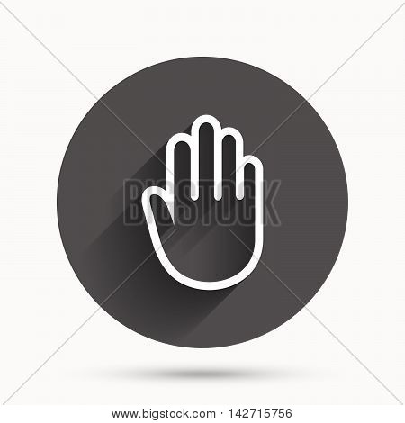 Hand sign icon. No Entry or stop symbol. Give me five. Circle flat button with shadow. Vector