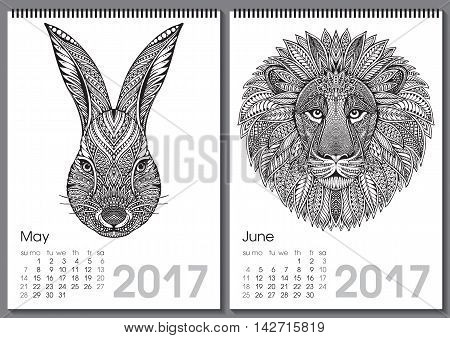 Calendar 2017. Beautiful ornate hand drawn animals for every month. Vector illustration. Two months lists may, june with rabbit, lion.