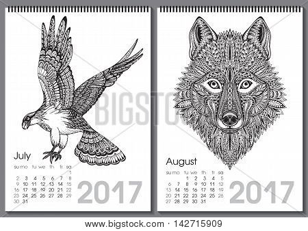 Calendar 2017. Beautiful ornate hand drawn animals for every month. Vector illustration. Two months lists july, august with eagle, wolf.