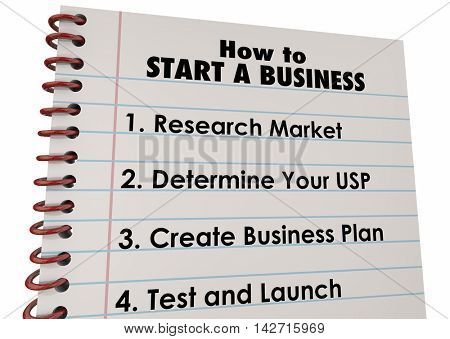 How to Start Business Company Launch List 3d Illustration