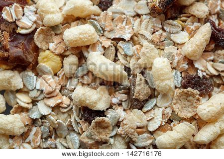 Healthy Breakfast From A Dry Muesli, Raisins And Oat Flakes. Food Made Of Granola And Muesli.